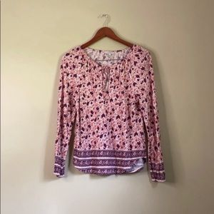 Lucky Brand Paisley Long Sleeve Top Pink Size M